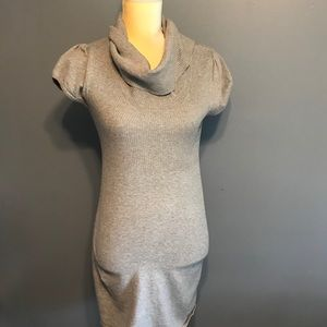 Take out sweater dress with cowl neck gray